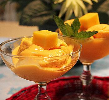 Mamão papaya com um delicioso creme de manga